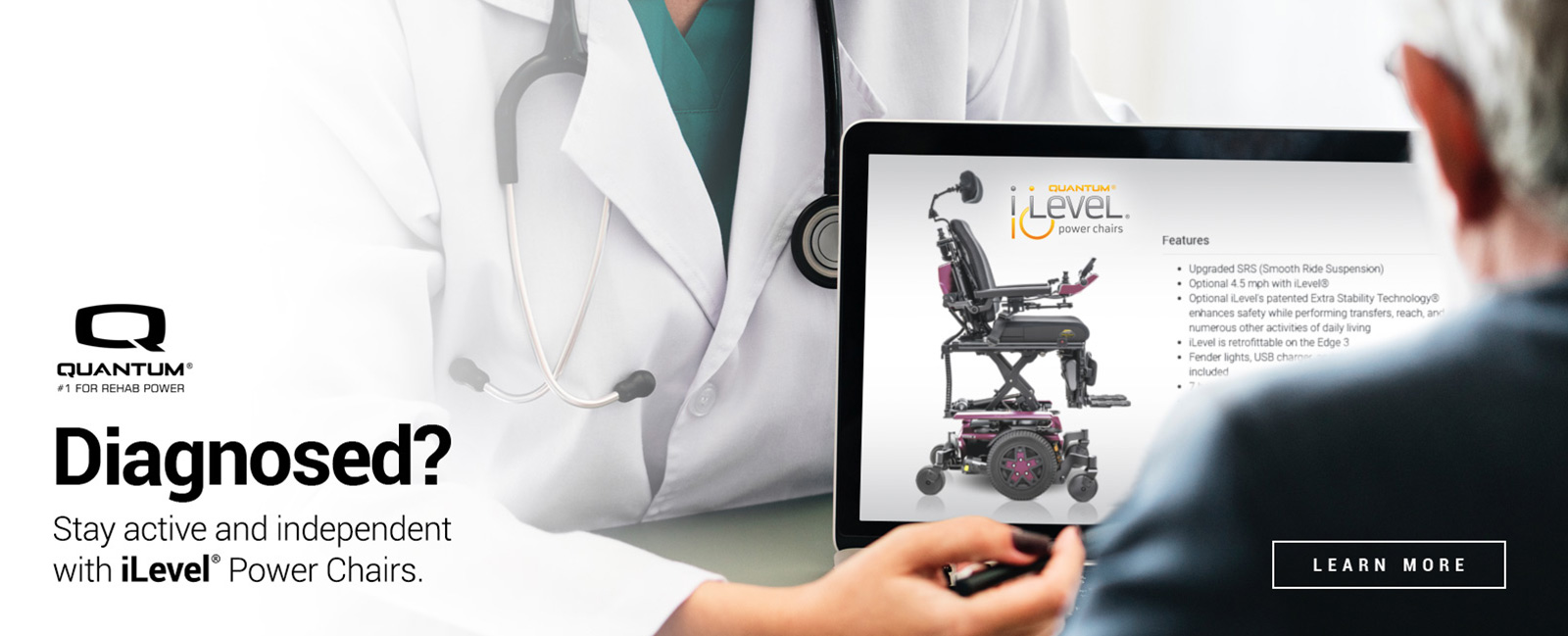 Stay active and independent with iLevel Power Chairs.